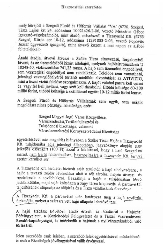 Tiszaycht szerződés a Szőke Tisza gőzös ügyében